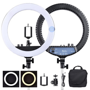 RL-12II 14 inch Ring lamp 3200-5500K Dimmable Photography Studio makeup Led Ring Light For Camera Photo Studio Phone - A-Z amazing