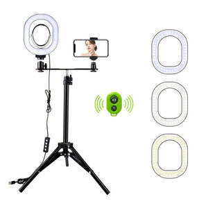 2 in 1 LED Light Ring Lighting Kit Photo Lamp for Video Live Youtube  Selfie lamp with Bluetooth Tripod Phone Hold - A-Z amazing
