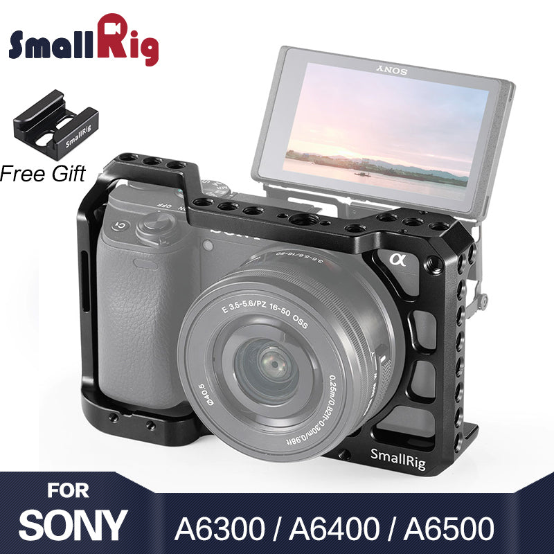 SmallRig A6400 Camera Cage for Sony Alpha A6300 / A6400 / A6500 / A6100 Camera w/ 1/4 3/8 Thread Holes for Vlog DIY Option 2310 - A-Z amazing