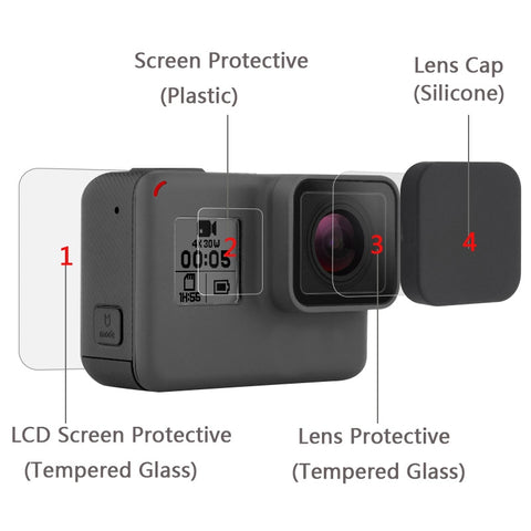 New Tempered Glass Protector Cover Case For Go Pro Gopro Hero 5 6 7 Hero5 Hero6 Hero7 Camera Lens Cap LCD Screen Protective Film - A-Z amazing