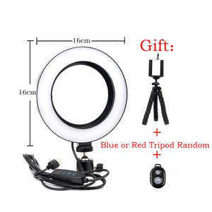 Dimmable Photography LED 16/26cm Selfie Ring Light Camera Phone Video With Ball Head + Mini Tripod Studio Live Youtube Ring Lamp - A-Z amazing