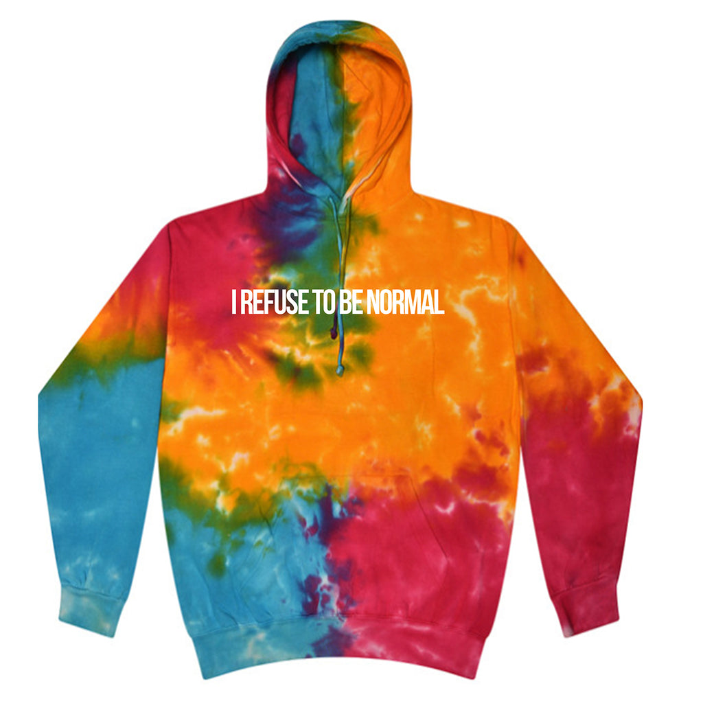 I Refuse To Be Normal Pullover Hoodie (Tie Dye Rainbow Limited Edition) - I Refuse To Be Normal