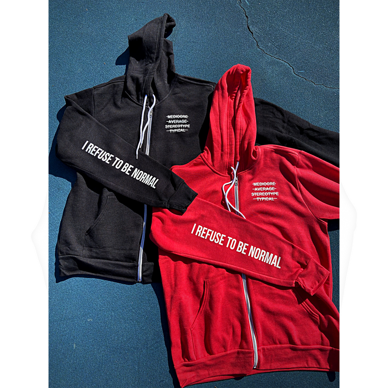 Heather I Refuse To Be Normal Zip Up - (Black & Red) - I Refuse To Be Normal
