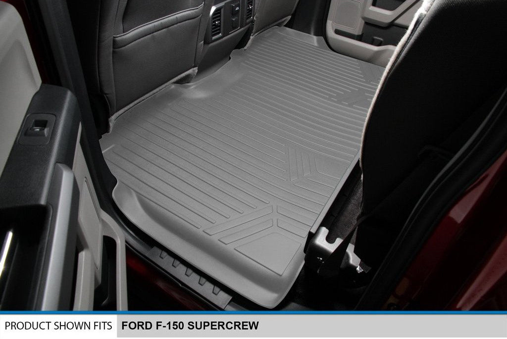 Smartliner Custom Floor Mats for Ford F150 SuperCrew with Front Bucket Seat Gray