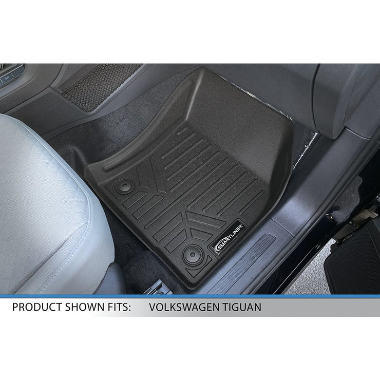 SMARTLINER Custom Fit Floor Mats 2nd Row Liner Black for 2018-2019 Volkswagen Tiguan All Models