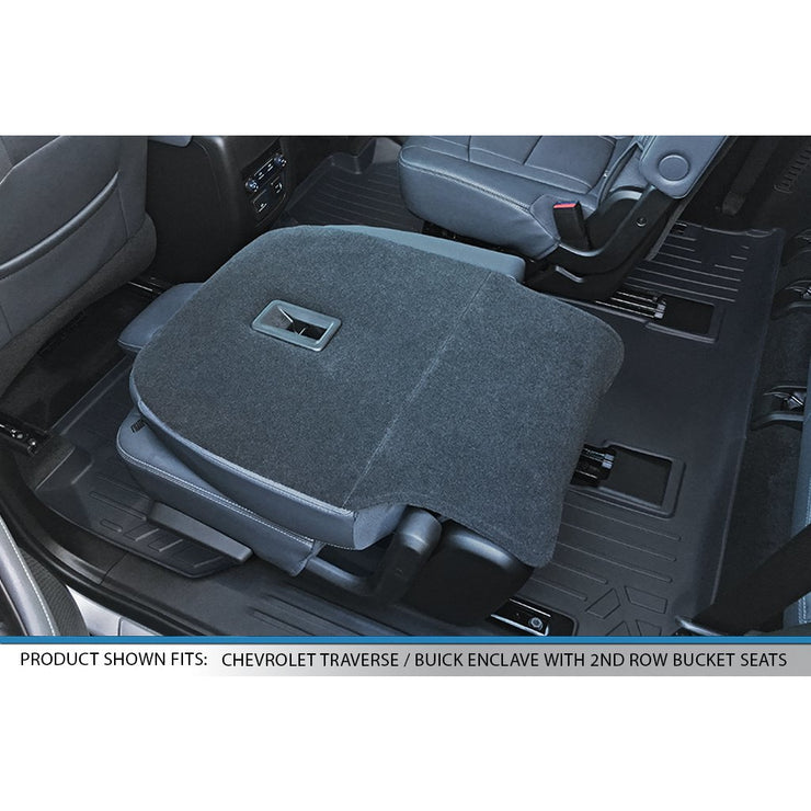 SMARTLINER Floor Mats 2nd and 3rd Row Liner Black for 2018-2019 Chevrolet Traverse//Buick Enclave with 2nd Row Bucket Seats
