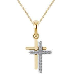 Crystal Cross Necklaces Pendants Double Layered