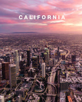 Los Angeles City Sunset with California Type