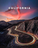 California Light Trails and Sunset with California Type
