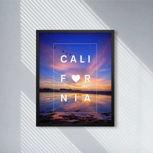 Cali Sunset Blues with Bordered Type