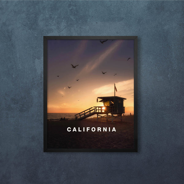 California Lifeguard Tower Sunset with California Type