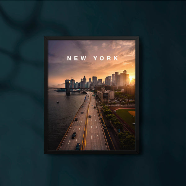 New York Skyline Sunset with Modern Type