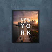 Bordered Type with New York Sunset Skyline