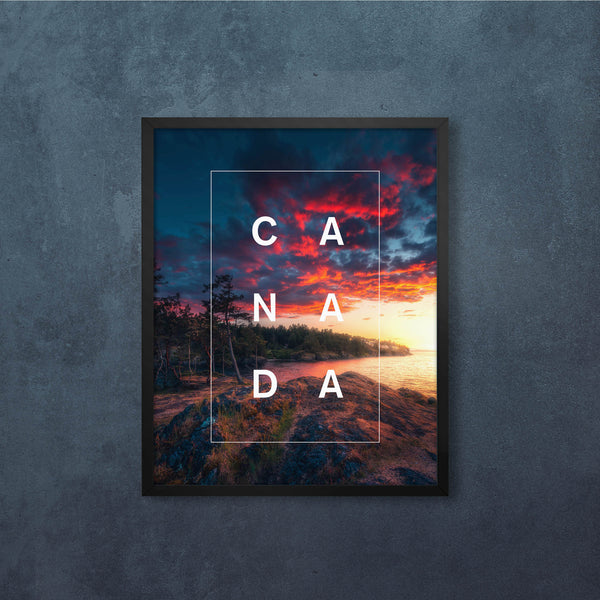 Bordered Type with a Canadian Coastal Sunset