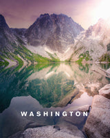 Mountain Lake Reflections with Washington Type
