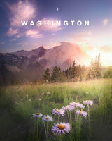 Mt. Rainier in Spring with Washington Type