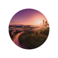 Iconic Circular Seattle in Crimson Light
