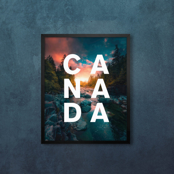 CANADA Flowing River with Modern Type