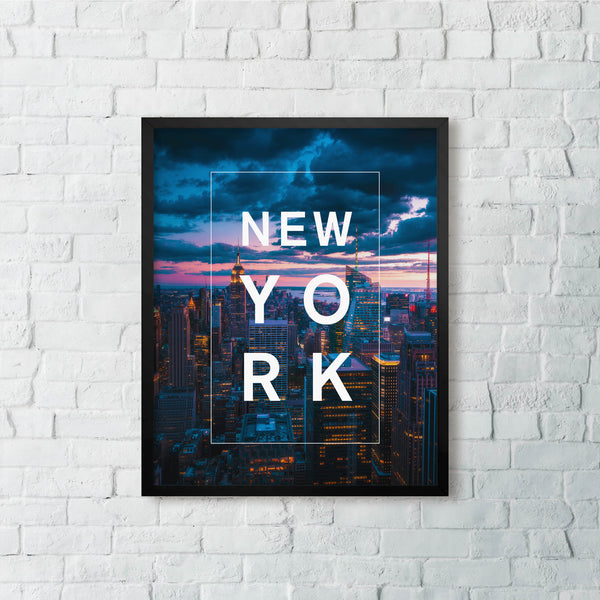 Bordered Type with New York at Twilight
