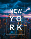 Bordered Type with New York Skyline