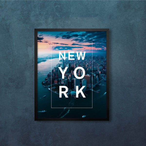 Bordered Type with New York From Above
