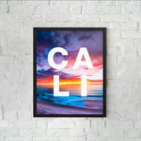 Framed CALI sunset with modern type