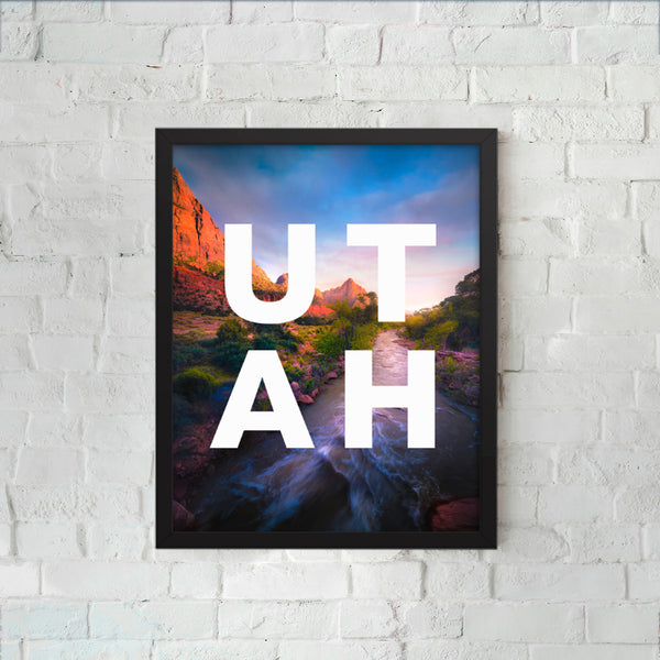 Framed UTAH sunset with modern type