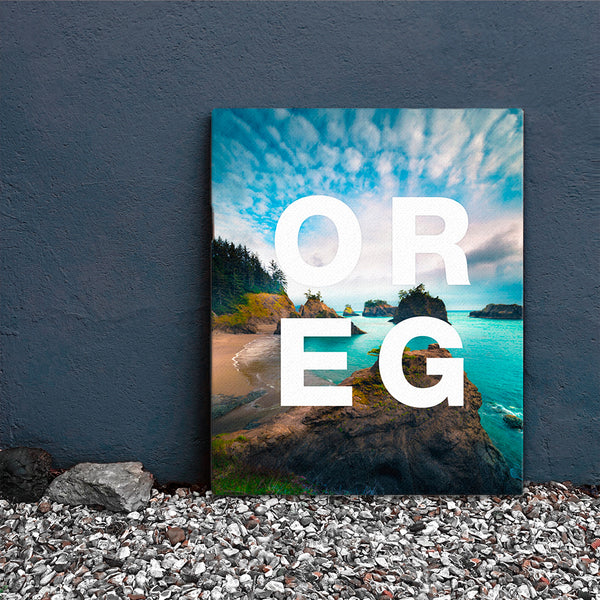 Canvas OREG coastline with modern type