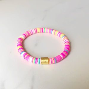peachy pink rainbow clay bracelet