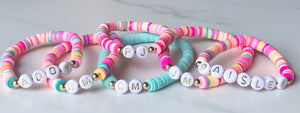 adult and mini personalized letter bracelet - multicolored