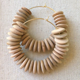 tan wood saucer earrings