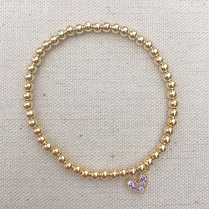 gold-filled beaded bracelet with heart charm (more colors)