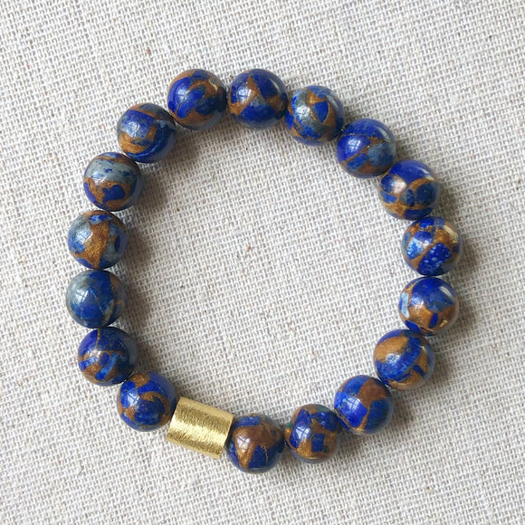 blue/orange mosaic quartz bracelet