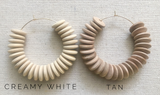 creamy white wood saucer earrings