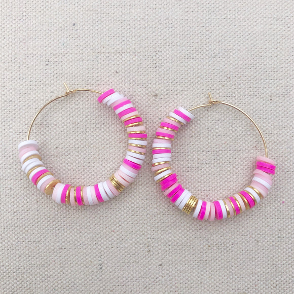 35mm pinks rainbow clay with gold accents earrings