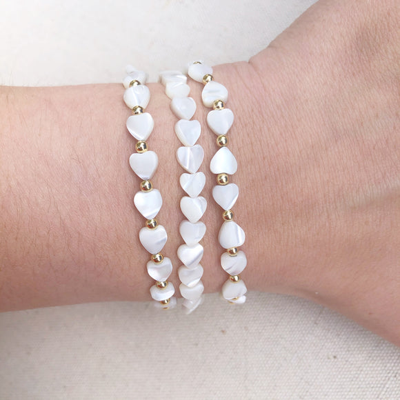 mother of pearl white shell hearts bracelet (3 styles)