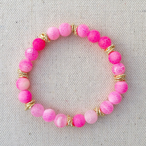 pink crackle agate beaded bracelet