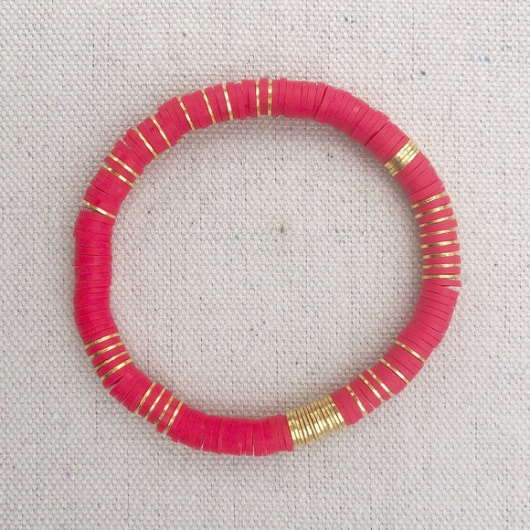 6mm red clay bracelet with gold accents (adult and mini)