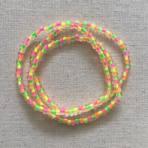 clear neon rainbow bitty bead bracelet stack