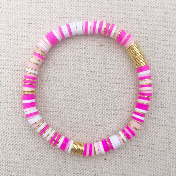 6mm pinks rainbow clay bracelet with gold accents (adult and mini)