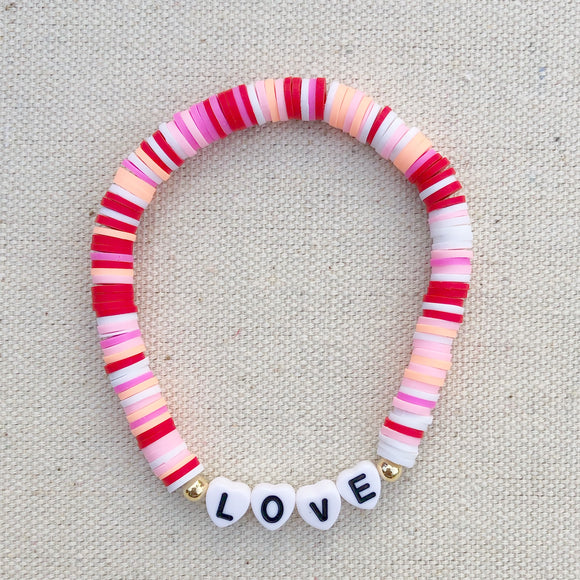 valentine's clay personalized letter bead bracelet (adult and mini, gold and white letter beads)