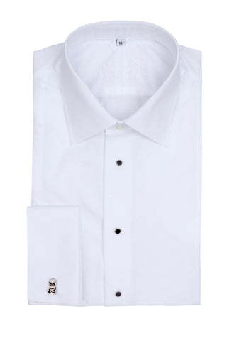 Regent - Dinner/ Evening Shirt - White Twill with Marcella Details