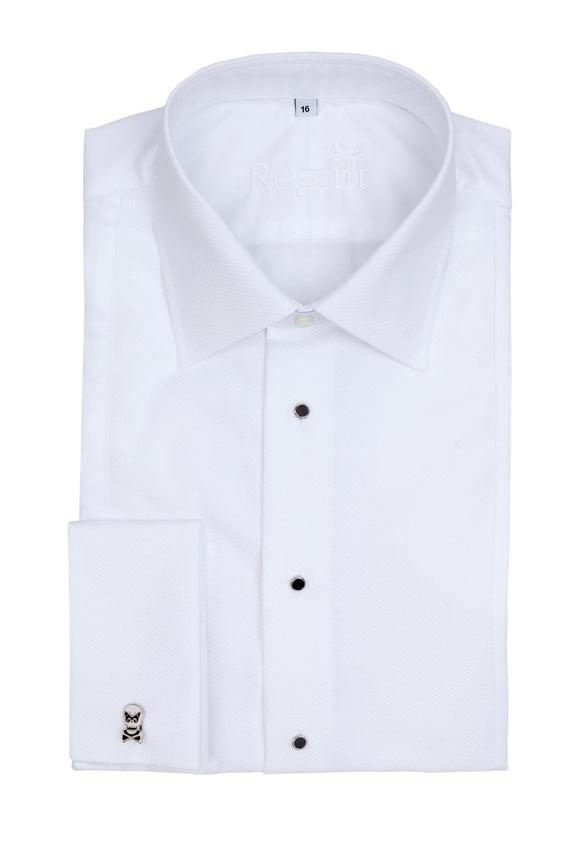 Regent - Dinner/ Evening Shirt - White Twill with Marcella Details - Regent Tailoring