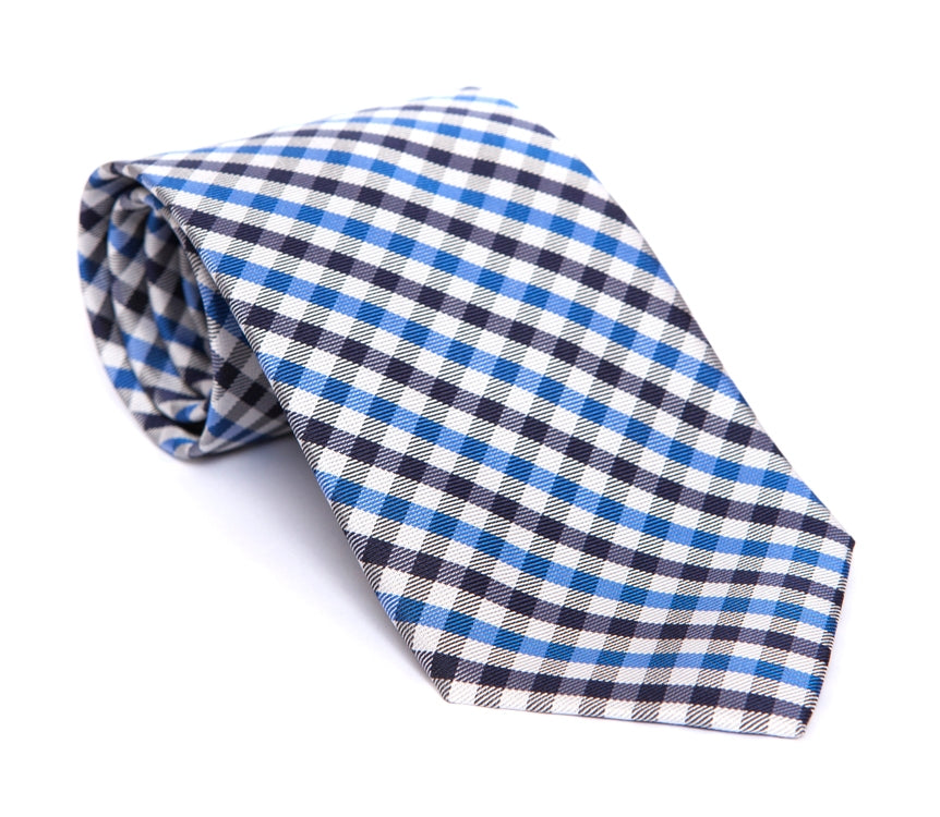 Regent - Woven Silk Tie - White, Blue and Navy Mini-Check - Regent Tailoring