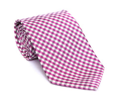 Regent - Woven Silk Tie - Pink and White Mini-Check