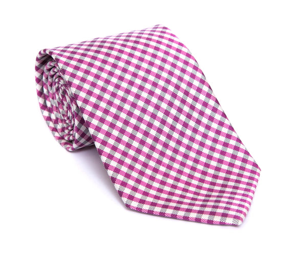 Regent Woven Silk Tie - Pink and White Mini-Check