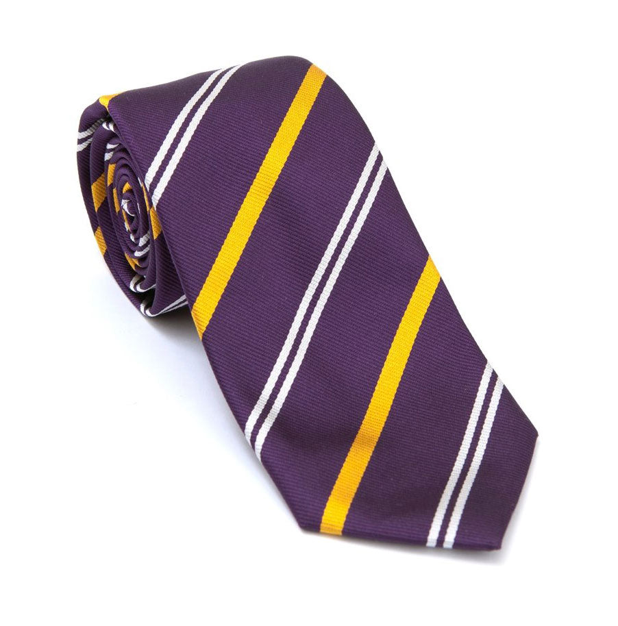 Regent - Woven Silk Tie - Deep Purple with Double White and Yellow Stripe - Regent Tailoring