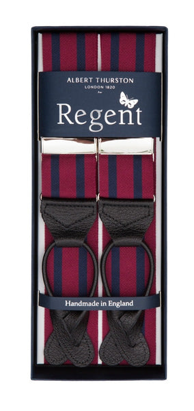 Regent x Albert Thurston - Braces - Burgundy w/ Navy Stripe