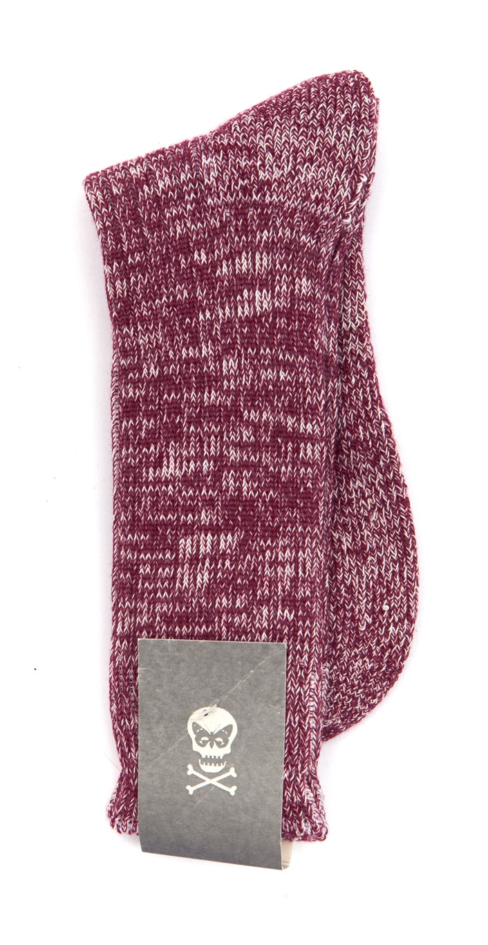 Regent Padded Socks - Cotton - Marled Burgundy