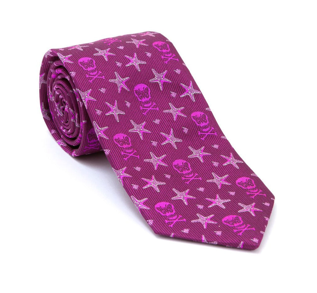 Regent - Woven Silk Tie - Raspberry - Skull and Fish - Regent Tailoring
